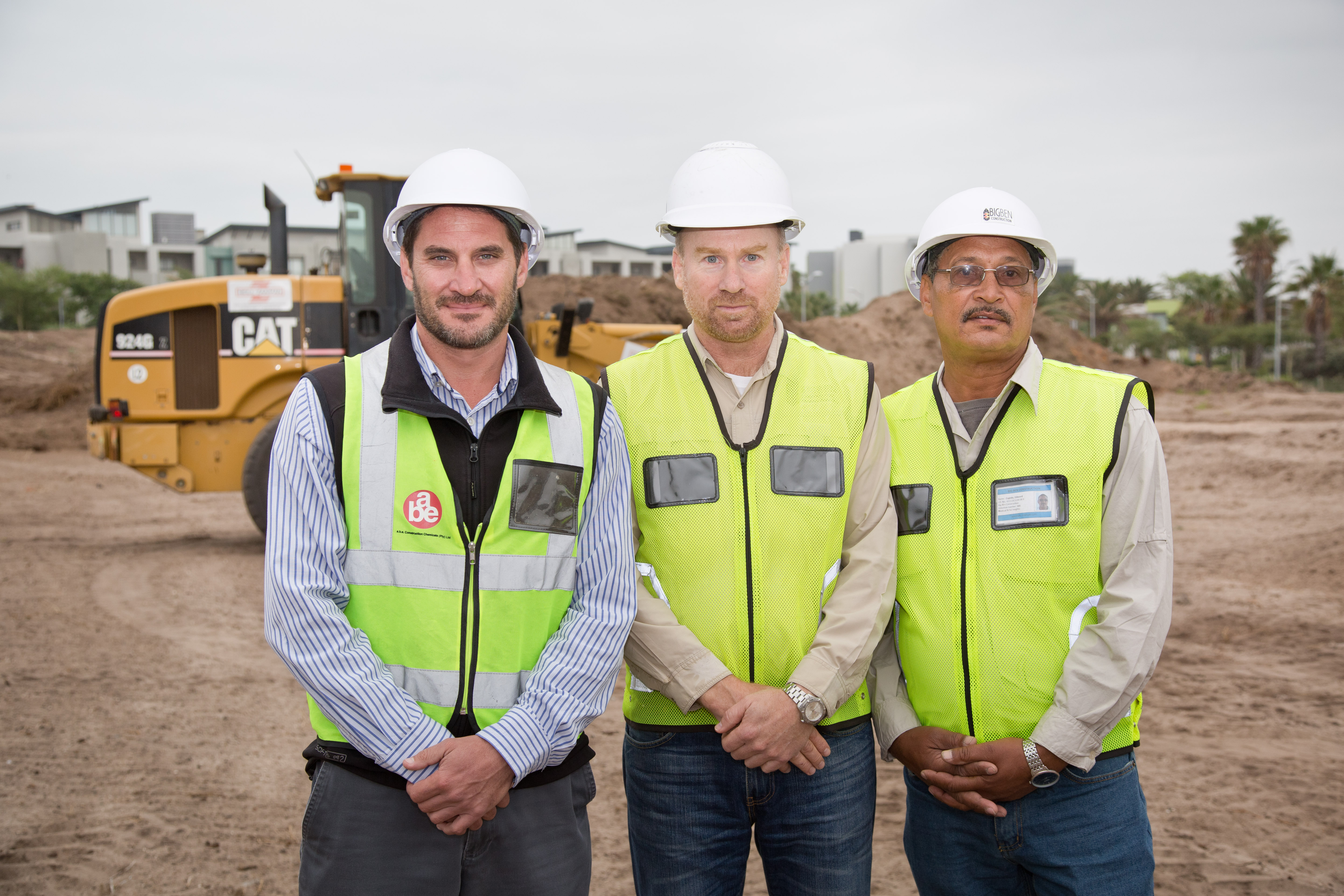 from left, Miguel Rodrigues, director of Rabie Property Group with Colin Ridley, MD of Big Ben Construction and Eddie Cupido, project manager, on the site of the new R240m The Terraces development at Century City.